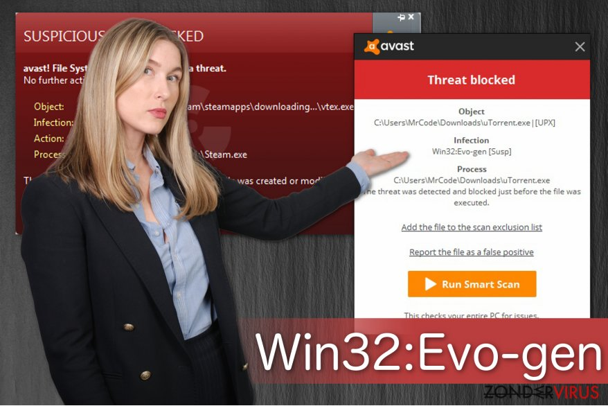 Illustratie van de Win32:Evo-gen [Susp] waarschuwing
