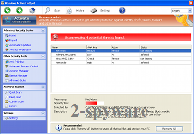 Windows Active HotSpot snapshot