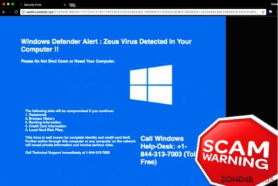 """""""Windows Defender Alert: Zeus Virus"""" Tech Ondersteuning Scam"""