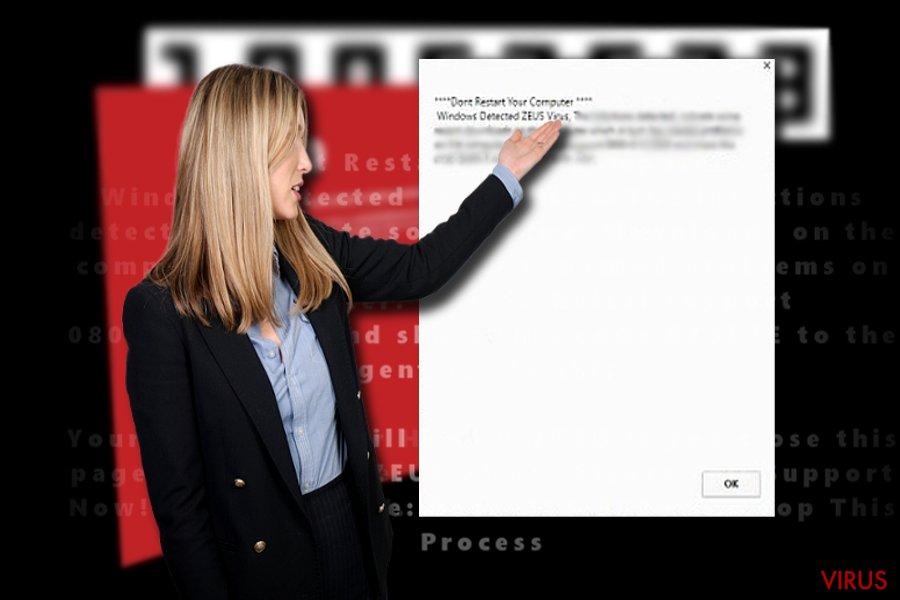 """Schermafbeelding van """"Windows Detected ZEUS virus"""""""