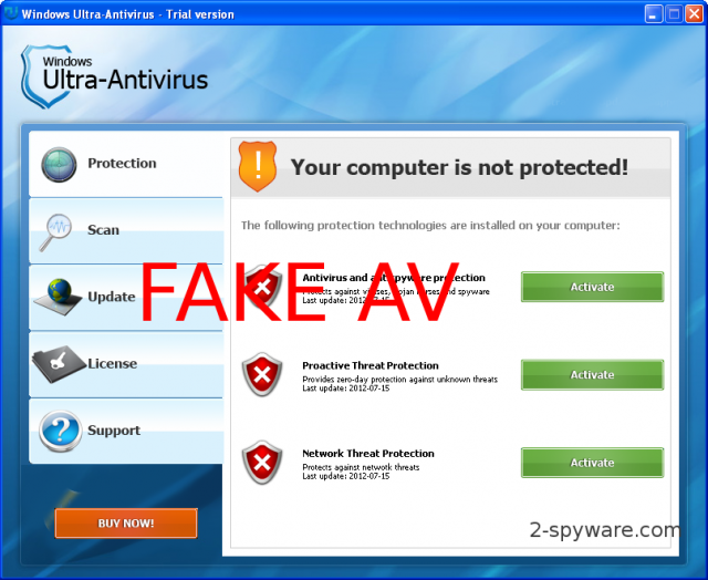 Windows Ultra Antivirus snapshot