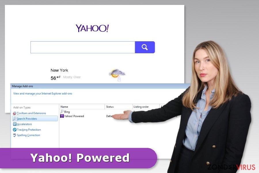 Voorbeeld van de Yahoo Powered hijack
