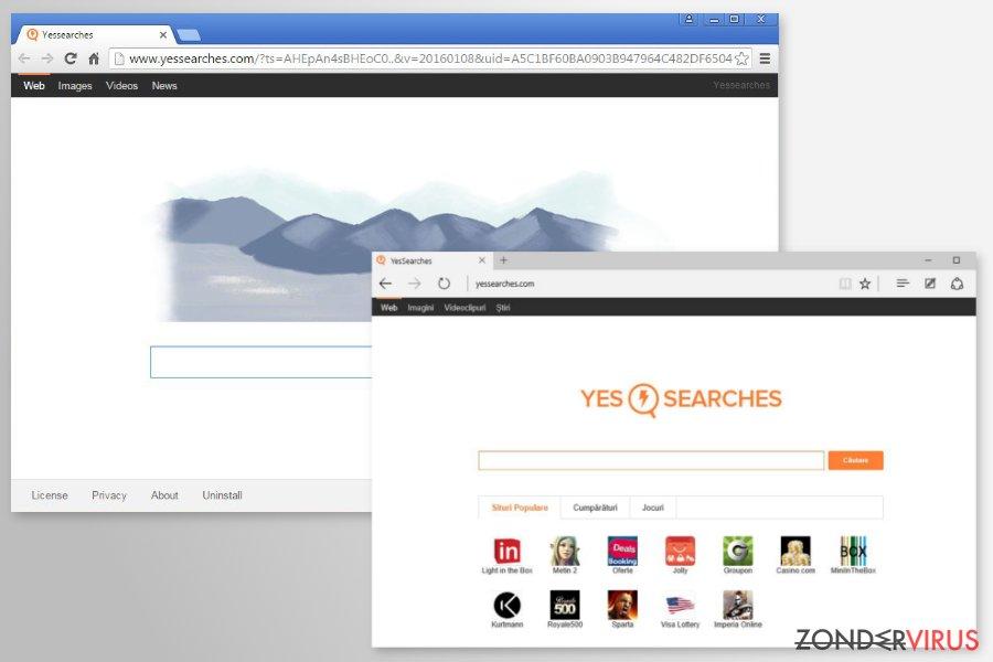 YesSearches.com doorstuurder snapshot
