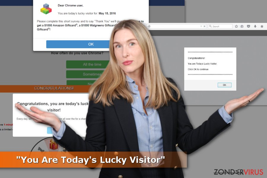 "Voorbeelden van ""You Are Today's Lucky Visitor""-zwendels"