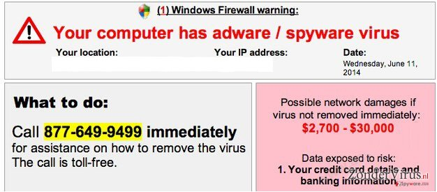 Your computer has adware / spyware virus snapshot