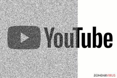 De afbeelding toont een gecorrumpeerde YouTube-site